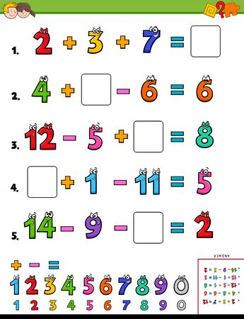 Cartoon Illustration of Educational Mathematical Calculation Worksheet for Children