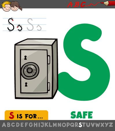 Educational Cartoon Illustration of Letter S from Alphabet with Safe for Children Illusztráció