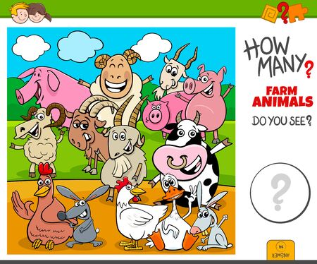Illustration of Educational Counting Task for Children with Cartoon Farm Animal Characters Ilustração