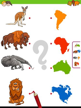 Cartoon Illustration of Educational Pictures Matching Game for Children with Wild Animals and Continents