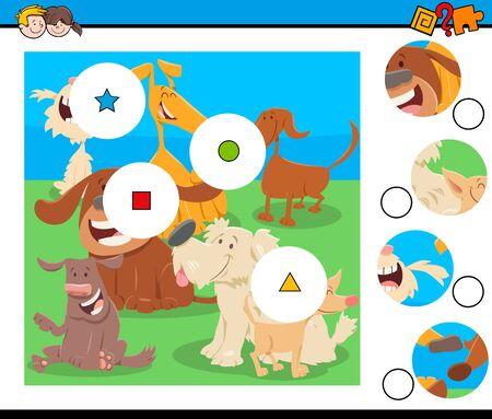 Cartoon afbeelding van educatieve Match the Pieces puzzelspel voor kinderen met grappige honden dierlijke karakters