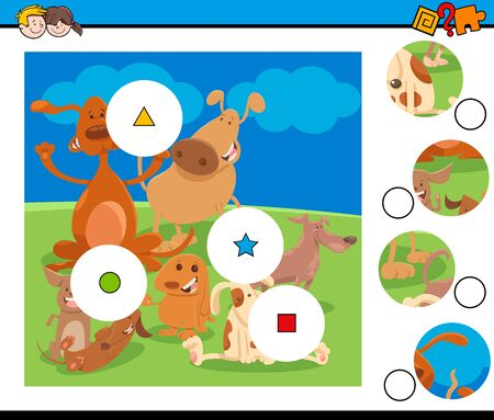 Cartoon Illustration of Educational Match the Pieces Jigsaw Puzzle Game for Children with Happy Dogs Animal Characters