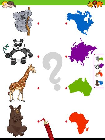 Cartoon Illustration of Educational Pictures Matching Game for Children with Animals and Continents Ilustração