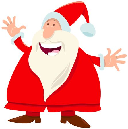 Cartoon Illustration of Happy Santa Claus Character with on Christmas Time