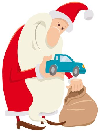 Cartoon Illustration of Funny Santa Claus Character with Christmas Presents