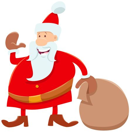 Cartoon Illustration of Funny Santa Claus Character with Sack of Christmas Presents