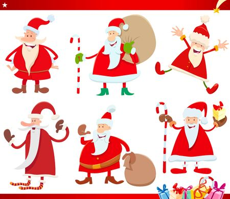Cartoon Illustration of Santa Claus Characters with Christmas Presents Set