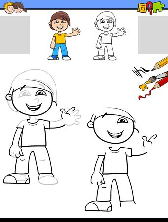 Cartoon Illustration of Drawing and Coloring Educational Activity for Children with Happy Little Boy Character Stock Illustratie