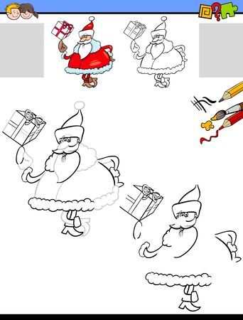 Cartoon Illustration of Drawing and Coloring Educational Activity for Children with Santa Claus Christmas Character