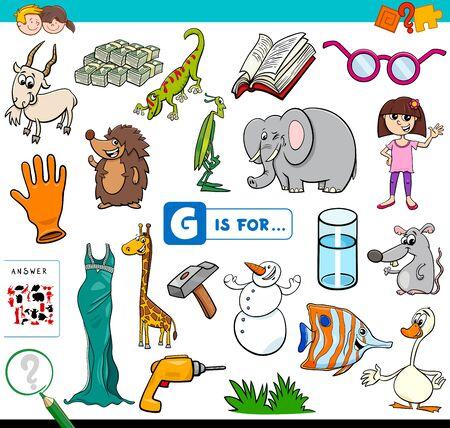 Cartoon Illustration of Finding Picture Starting with Letter G Educational Task Worksheet for Children Illusztráció