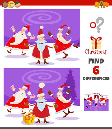 Cartoon Illustration of Finding Differences Between Pictures Educational Game for Children with Happy Santa Claus Characters on Christmas Time Illusztráció