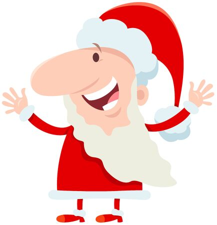 Cartoon Illustration of Happy Santa Claus Character on Christmas Holiday Time