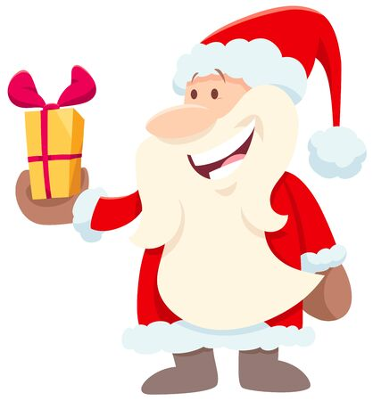 Cartoon Illustration of Happy Santa Claus Character with Present on Christmas Holiday Time