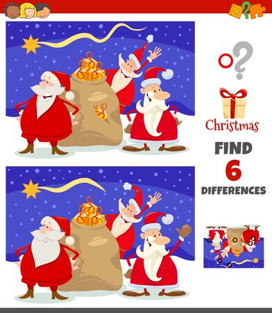 Cartoon Illustration of Finding Differences Between Pictures Educational Game for Children with Happy Santa Claus Characters Group on Christmas Time