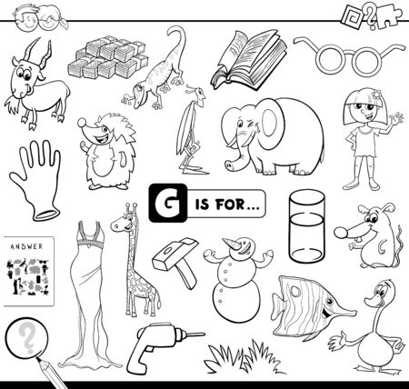 Black and White Cartoon Illustration of Finding Picture Starting with Letter G Educational Task Worksheet for Children Coloring Book