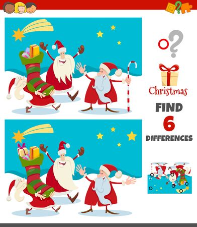 Cartoon Illustration of Finding Differences Between Pictures Educational Game for Children with Happy Santa Claus Christmas Characters Group