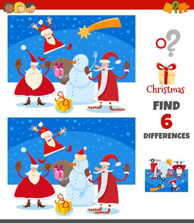 Cartoon Illustration of Finding Differences Between Pictures Educational Game for Children with Happy Santa Claus Christmas Characters