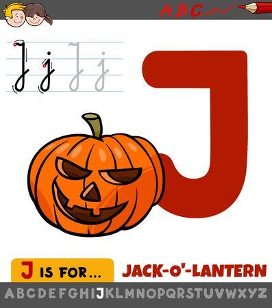 Educational Cartoon Illustration of Letter J from Alphabet with Jack-o-lantern for Children  Illusztráció