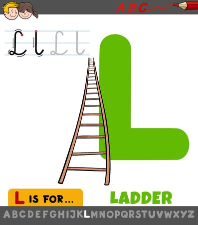 Educational Cartoon Illustration of Letter L from Alphabet with Ladder for Children