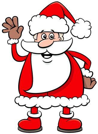 Cartoon Illustration of Funny Santa Claus Character on  Christmas Time Illusztráció