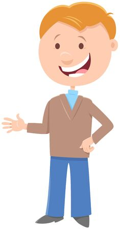 Cartoon Illustration of Happy Elementary Age or Teenager Boy Character