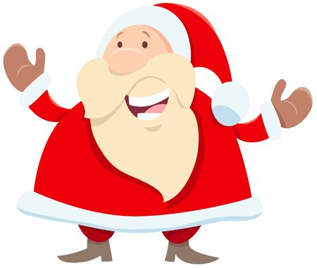 Cartoon Illustration of Funny Santa Claus Character with open Arms on Christmas Time