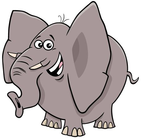 Cartoon Illustration of Funny African Elephant Comic Animal Character