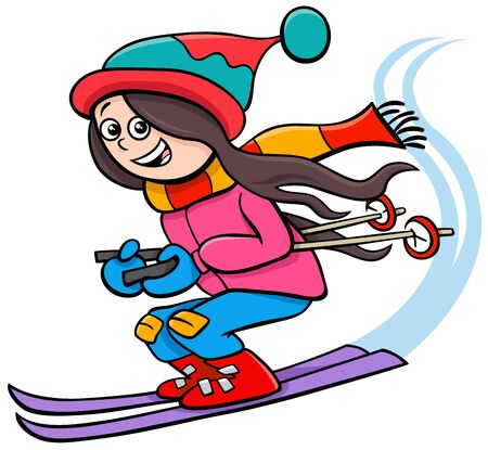 Cartoon Illustrations of Kid or Teen Girl Character on Ski on Winter Time