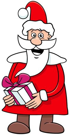 Cartoon Illustration of Happy Santa Claus Character on Christmas Holiday Time with Present