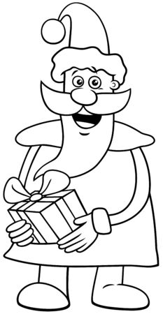 Black and White Cartoon Illustration of Funny Santa Claus Character on  Christmas Time with Present Coloring Book Page