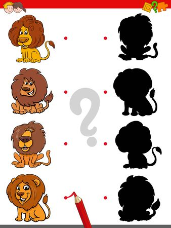 Cartoon Illustration of Match the Right Shadows with Pictures Educational Game for Children with Funny Lions Animal Characters Illusztráció