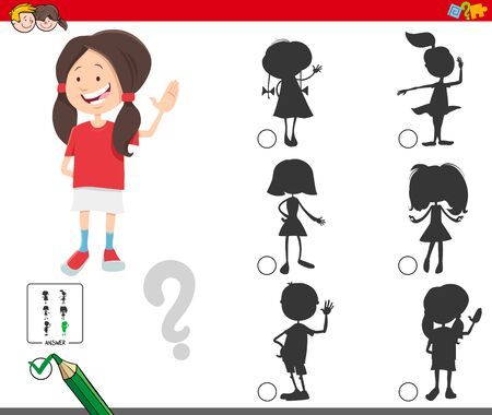 Cartoon Illustration of Finding the Right Shadow Educational Game for Children with Cute Girl Character