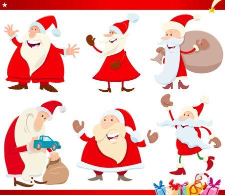 Cartoon Illustration of Santa Claus with Presents Christmas Characters Set Illusztráció
