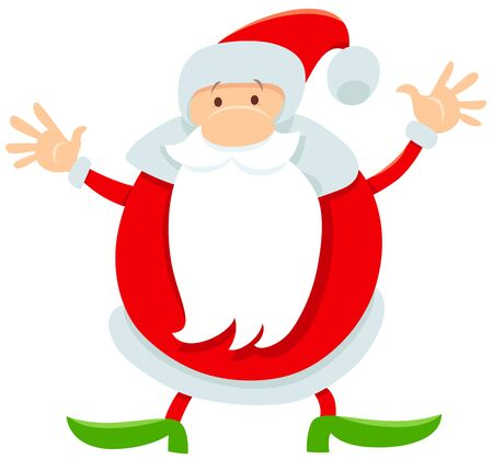 Cartoon Illustration of Funny Santa Claus Christmas Character or Man in Costume