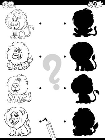 Black and White Cartoon Illustration of Match the Right Shadows with Pictures Educational Game for Children with Funny Lions Animal Characters Coloring Book