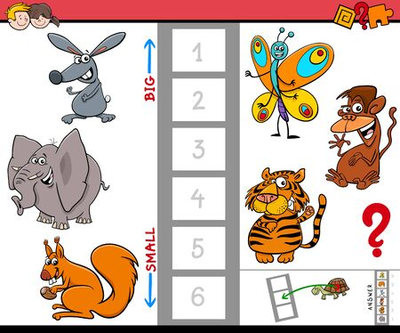 Cartoon Illustration of Educational Game of Finding the Largest and the Smallest Creature with Animal Characters for Children