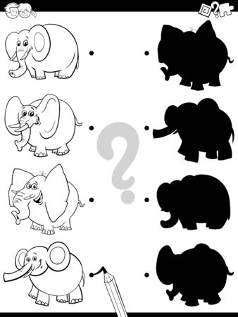 Black and White Cartoon Illustration of Match the Right Shadows with Pictures Educational Game for Children with Funny Elephants Animal Characters Coloring Book