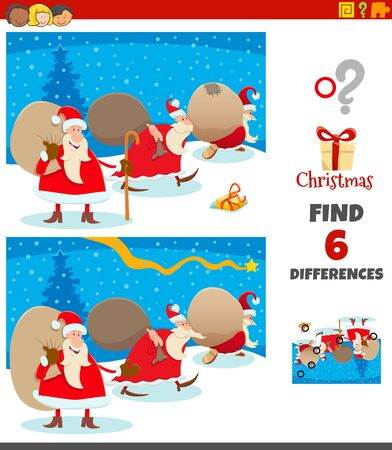 Cartoon Illustration of Finding Differences Between Pictures Educational Game for Children with Santa Claus Characters Group on Christmas Time