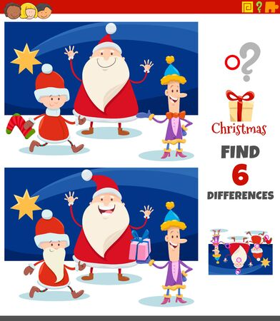 Cartoon Illustration of Finding Differences Between Pictures Educational Game for Children with Christmas Characters Group Illusztráció