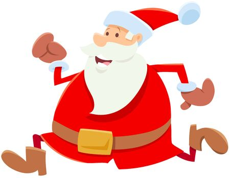 Cartoon Illustration of Funny Running Santa Claus Character on Christmas Time