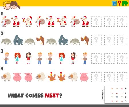 Cartoon Illustration of Completing the Pattern Educational Game for Kids with Comic People and Animal Characters