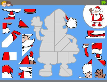 Cartoon Illustration of Educational Jigsaw Puzzle Game for Children with Funny Santa Claus Christmas Holiday Character