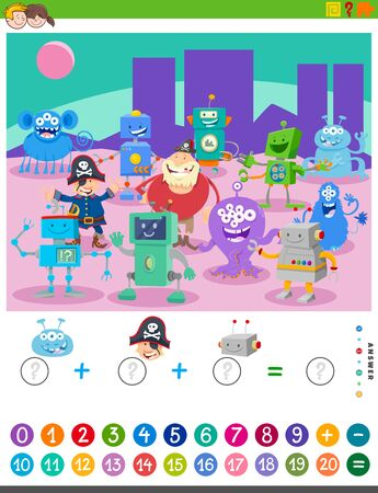 Cartoon Illustration of Educational Mathematical Counting and Addition Game for Children with Fantasy Characters