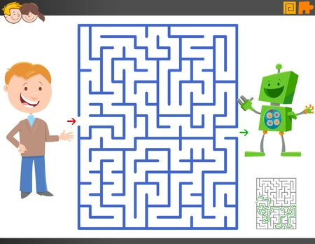Cartoon Illustration of Educational Maze Activity Game for Children with Boy and Toy Robot Character Illusztráció
