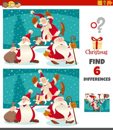 Cartoon Illustration of Finding Differences Between Pictures Educational Game for Children with Santa Claus Characters on Christmas Time