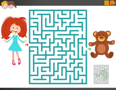 Cartoon Illustration of Educational Maze Activity Game for Children with Cute Girl and Teddy Bear Toy