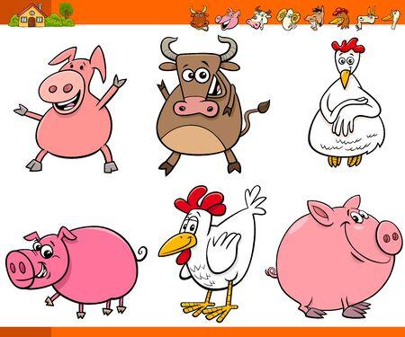 Cartoon Illustration of Cute Farm Animals Comic Characters Set