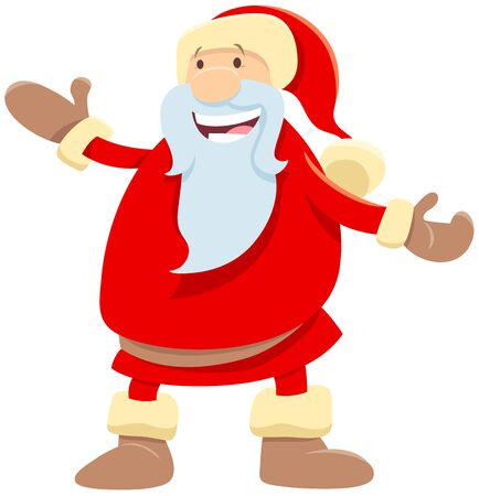 Cartoon Illustration of Funny Santa Claus Christmas Character or Man in Costume on Holiday