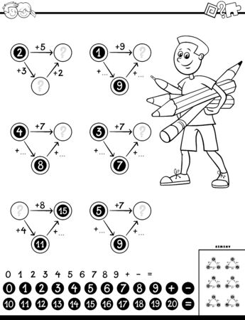 Black and White Cartoon Illustration of Educational Mathematical Calculation Diagram Task for Children with Elementary Age Boy Coloring Book Worksheet