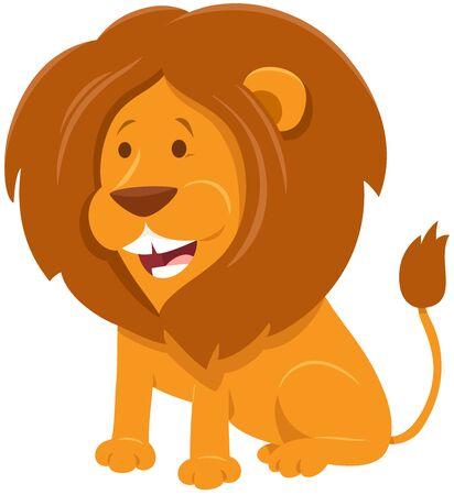 Cartoon Illustration of Funny Lion Wild Animal Character